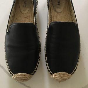 Soludos black leather espadrilles size 40